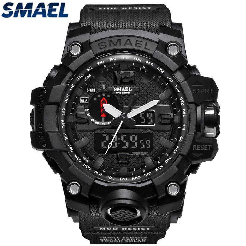 SMAEL pria jam tangan atas merek mewah dipimpin jam digital pria olahraga  kuarsa analog menonton pria a183b98496