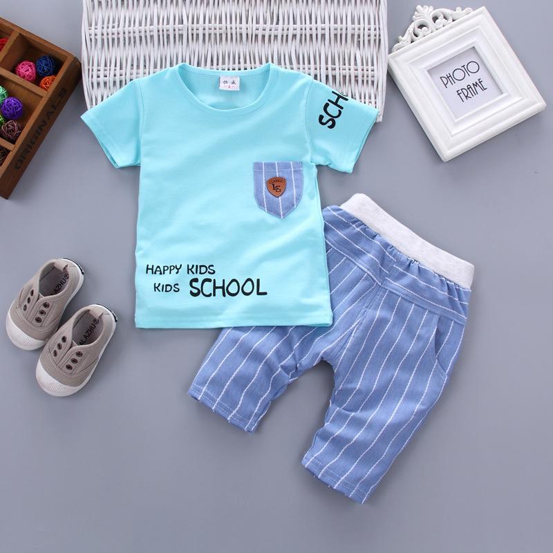 Musim Panas Lengan Pendek Anak Model Anak Laki-laki Musim Panas Pakaian Anak-Anak Bayi Bayi (Surat celana Jas [Biru])