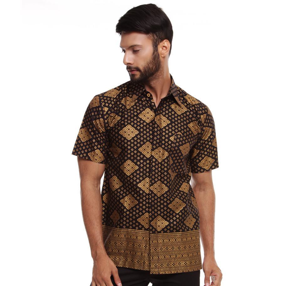 Kemeja Batik Pria Lengan Pendek Mewah Warna Hitam