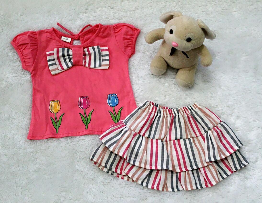 All Size 3-12 Bulan / Setelan Baju Rok Bayi Anak - Sweet Blaster