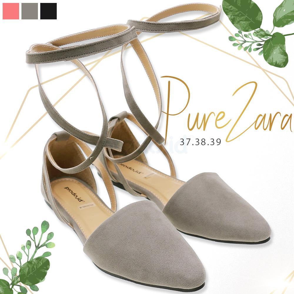 Flat shoes wanita promo hari raya point toe Pure Zara warna Abu gading ukuran 39 awet tahan lama