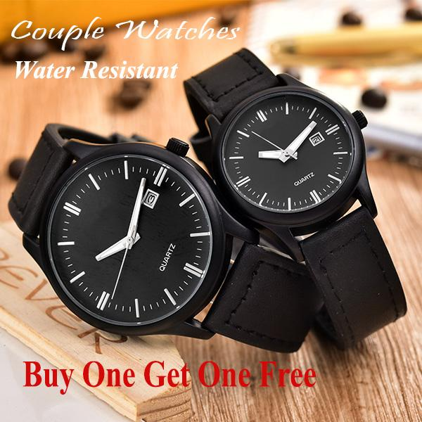 Jam Tangan Couple - Pria dan Wanita - AB-38073GL-BB-BlackLeather Band