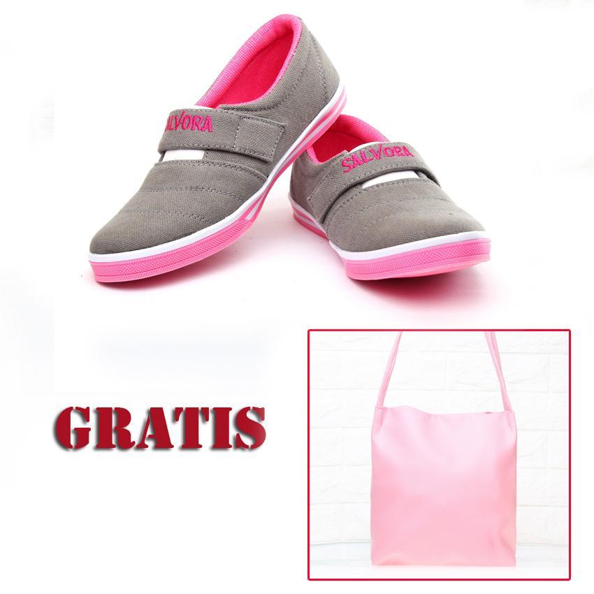 Salvora Salvora sepatu  wanita / sepatu wanita murah / sepatu  wanita flat / sepatu cewek / sepatu casual wanita / sepatu kasual wanita / sepatu wanita model terbaru / sepatu wanita termurah / sepatu wanita kanvas SVR abu/pink GRATIS tas SV36 pink