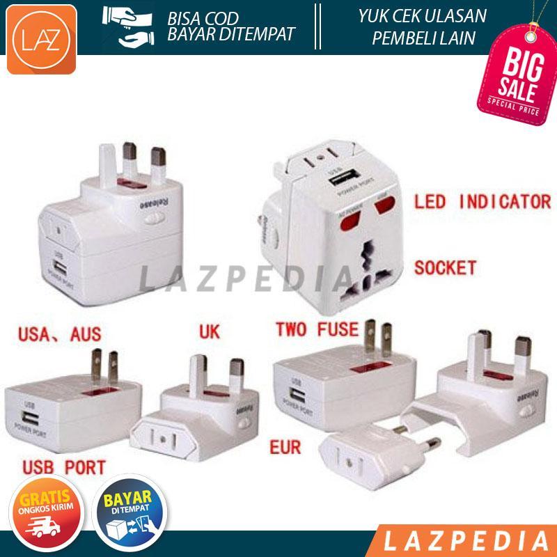 Laz COD - Travel Adaptor Universal EU AU UK US Plug dengan Port USB - Lazpedia / B32