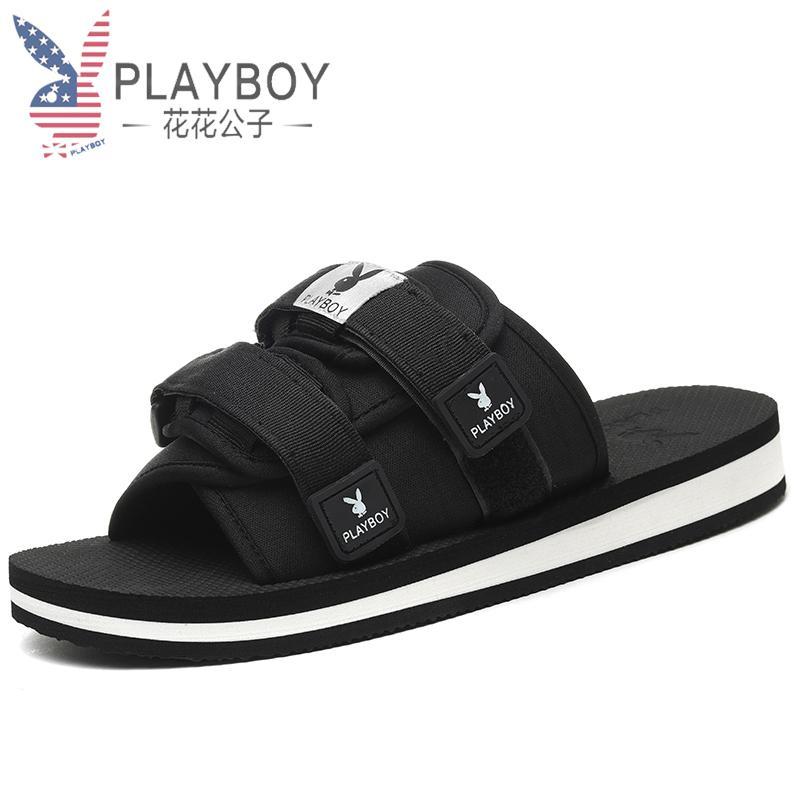 Playboy Sandal Musim Panas Laki-laki Kayu Cendana Pantai Tren Non-slip (尚映 Kasual 8AX006081S Hitam)