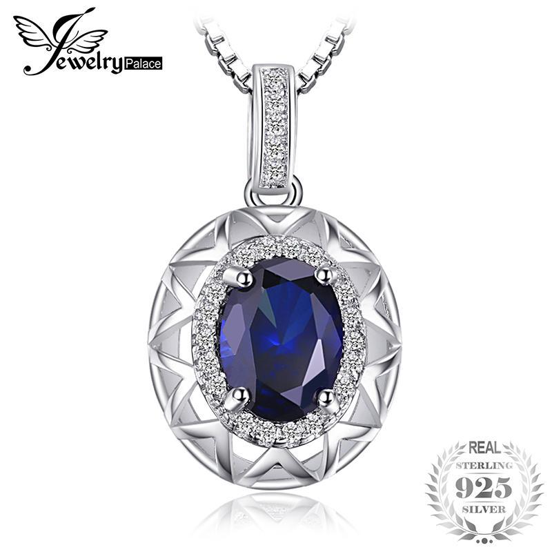 Jewelrypalace Desain Unik 1.5ct Menciptakan Sapphire Biru Liontin 925 Perak Berkilau Tidak Termasuk Rantai