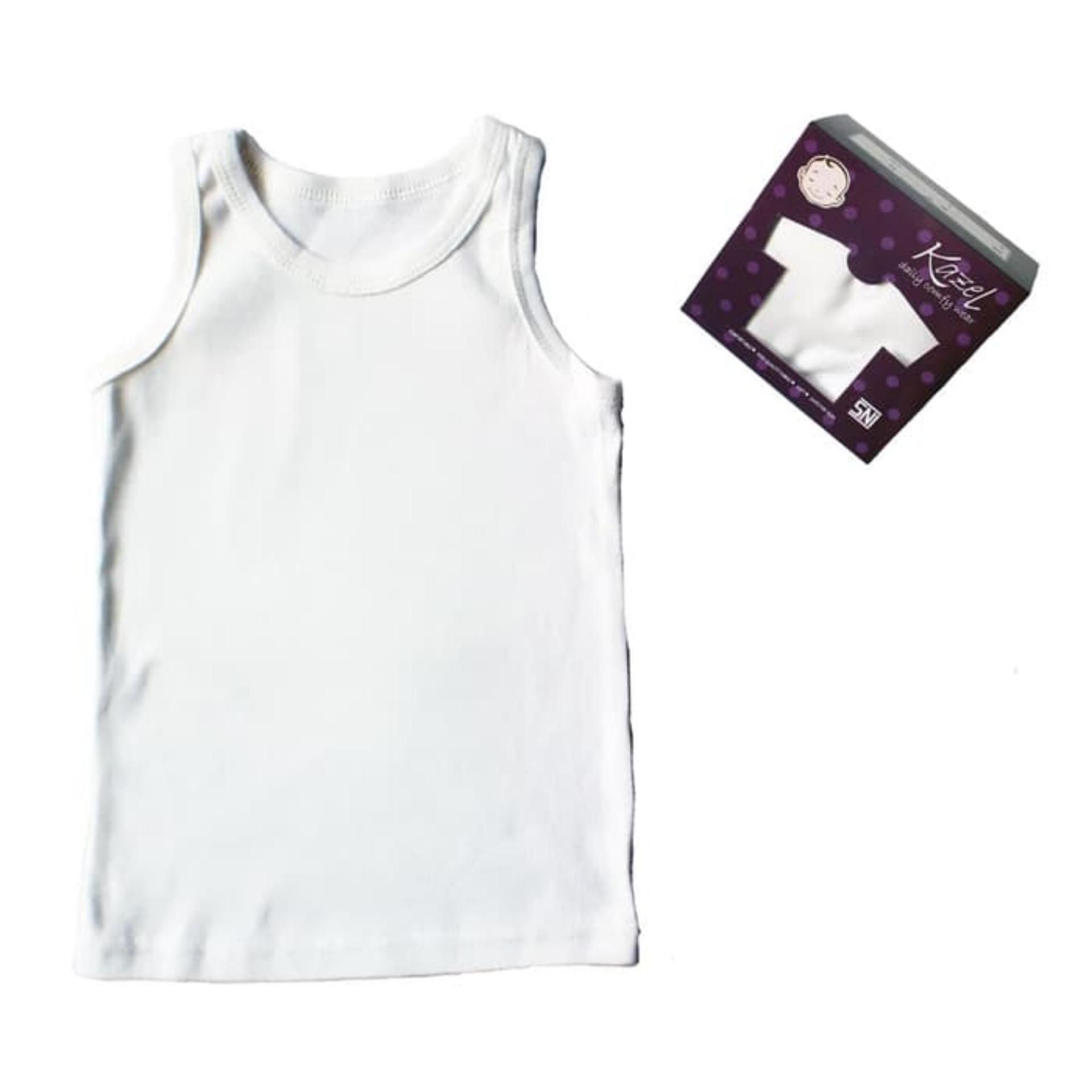 Atasan Kaus Bayi Laki Terbaik Kazel Singlet Jumper 6pcs New 9 12 Bulan Polos Putih 6in1 Size L