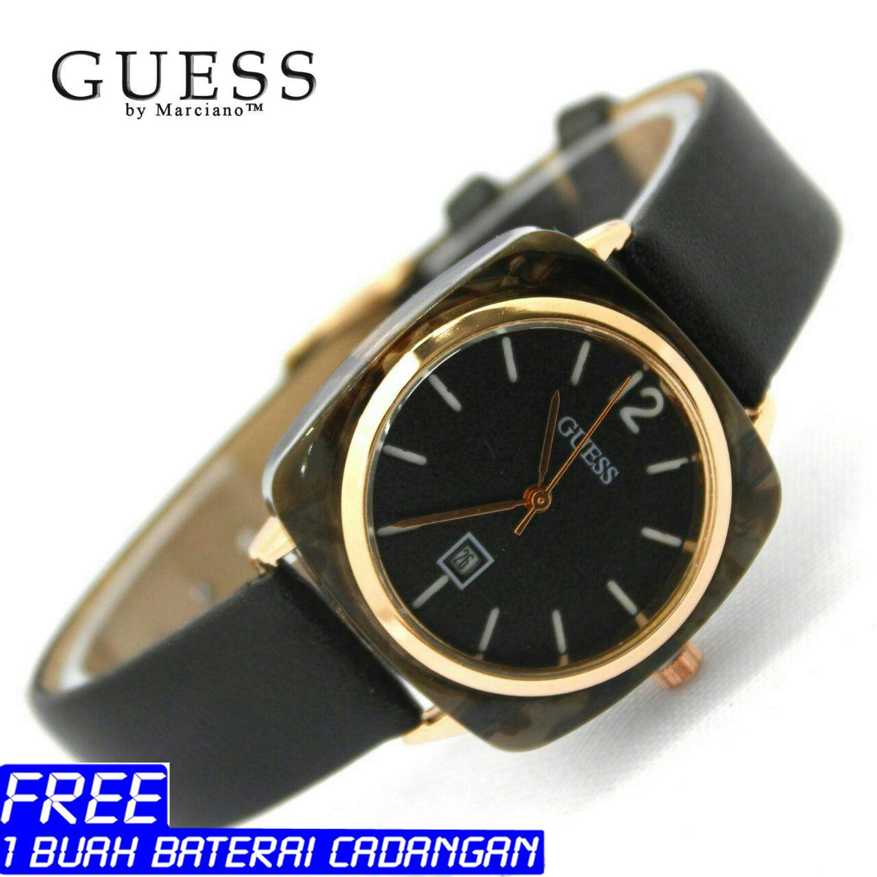 JAM TANGAN WANITA, GUESS, TALI KULIT, LUXURY, MODEL TERBARU, ANALOG TIME