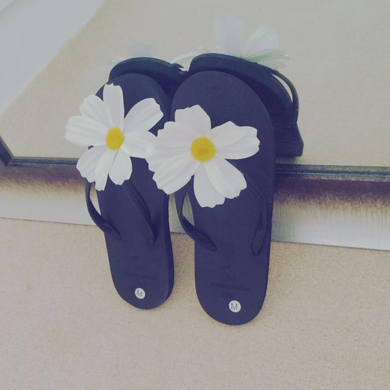Bunga Matahari Sandal Jepit Pantai Rajut Sandal Perjalanan Perempuan (Bedak)