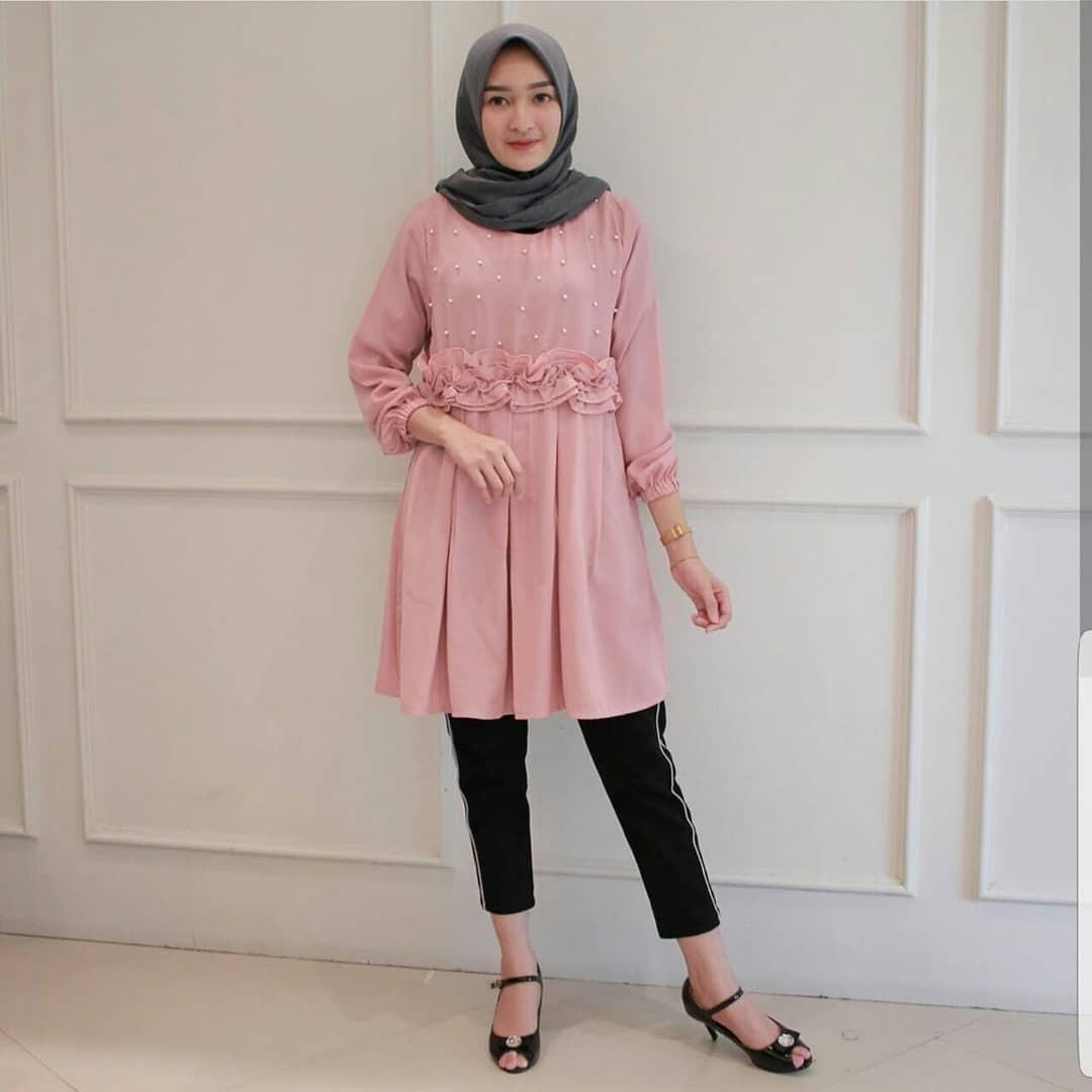 Baju Original Blus Alma Top Blouse Pakaian Wanita Muslim Panjang Blus Modern Atasan Hijab Kekinian Casual