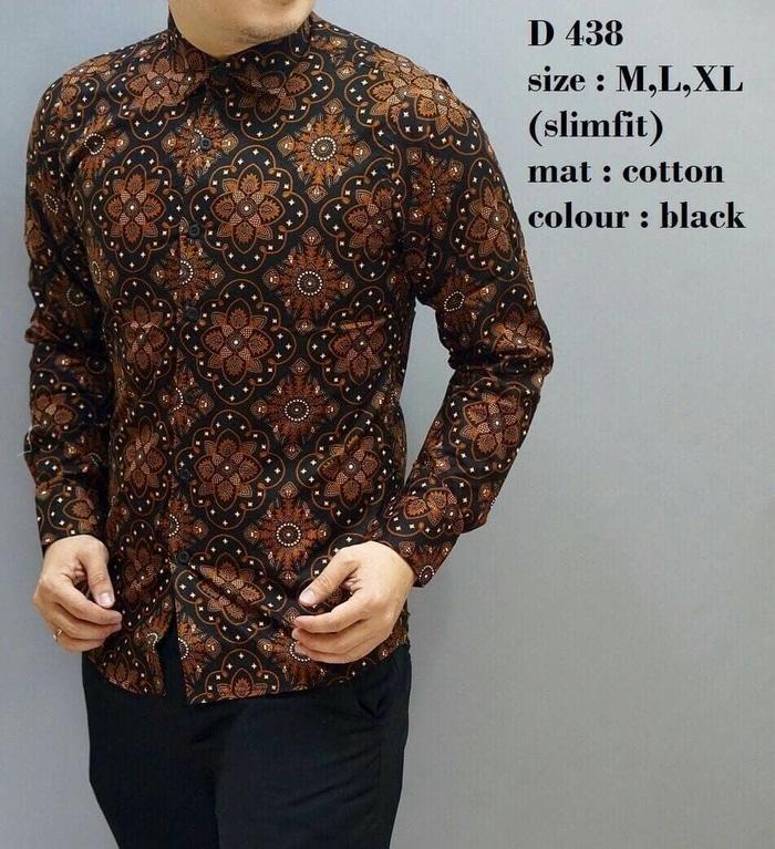 Promo batik BAJU KEMEJA BATIK PRIA SLIM FIT MODERN MEWAH LENGAN PANJANG CB337