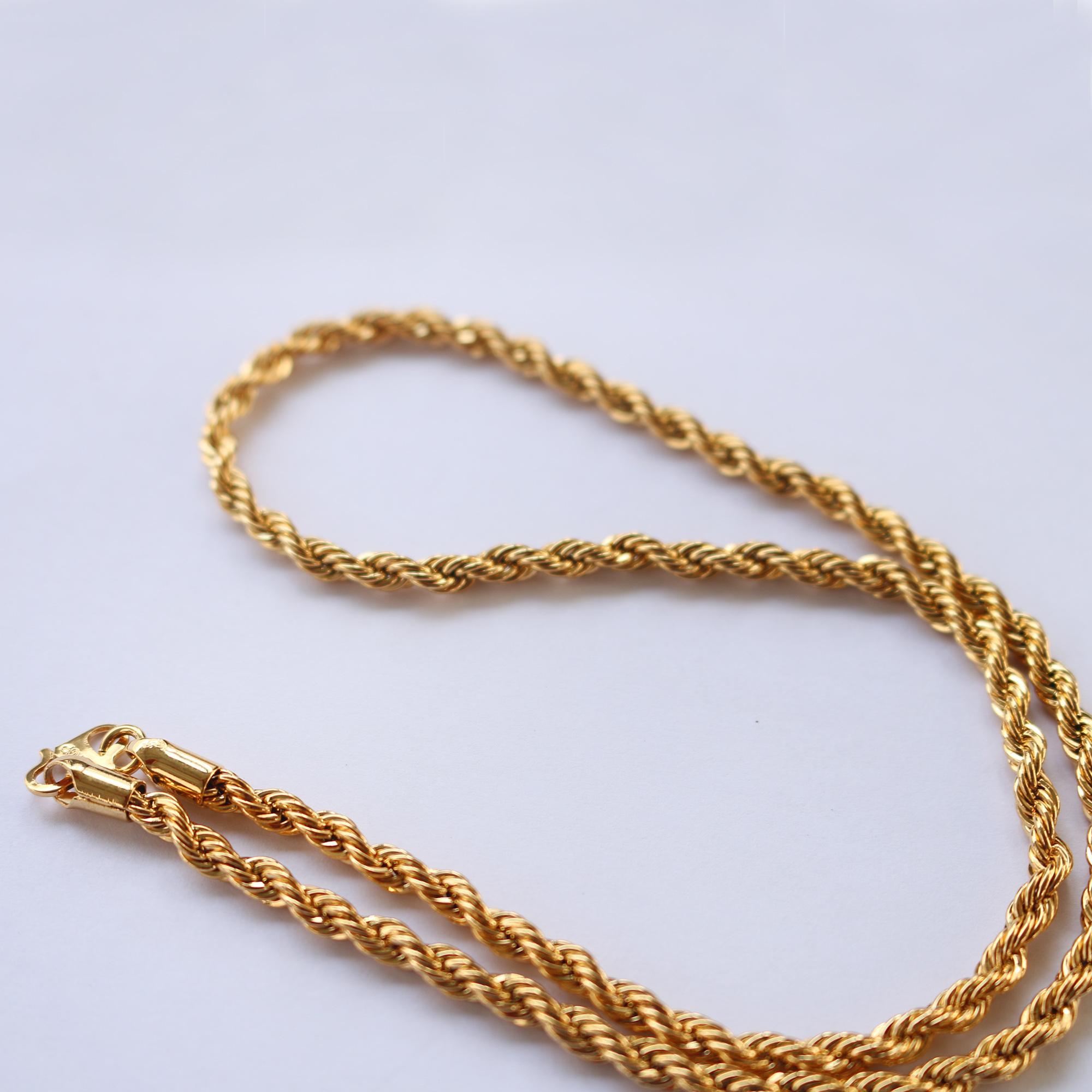 Kalung Tambang Besar 45cm Lapis Emas Xuping Warna 24k Perhiasan Cantik Menawan