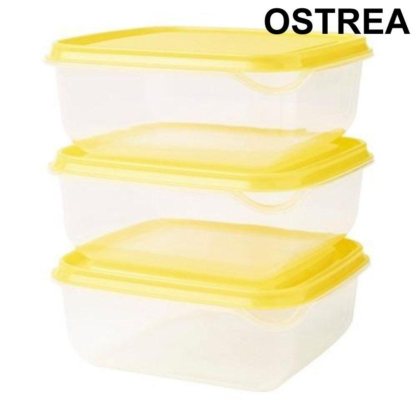 Ikea Pruta Food Container Kotak Makan Kuning 3 in 1