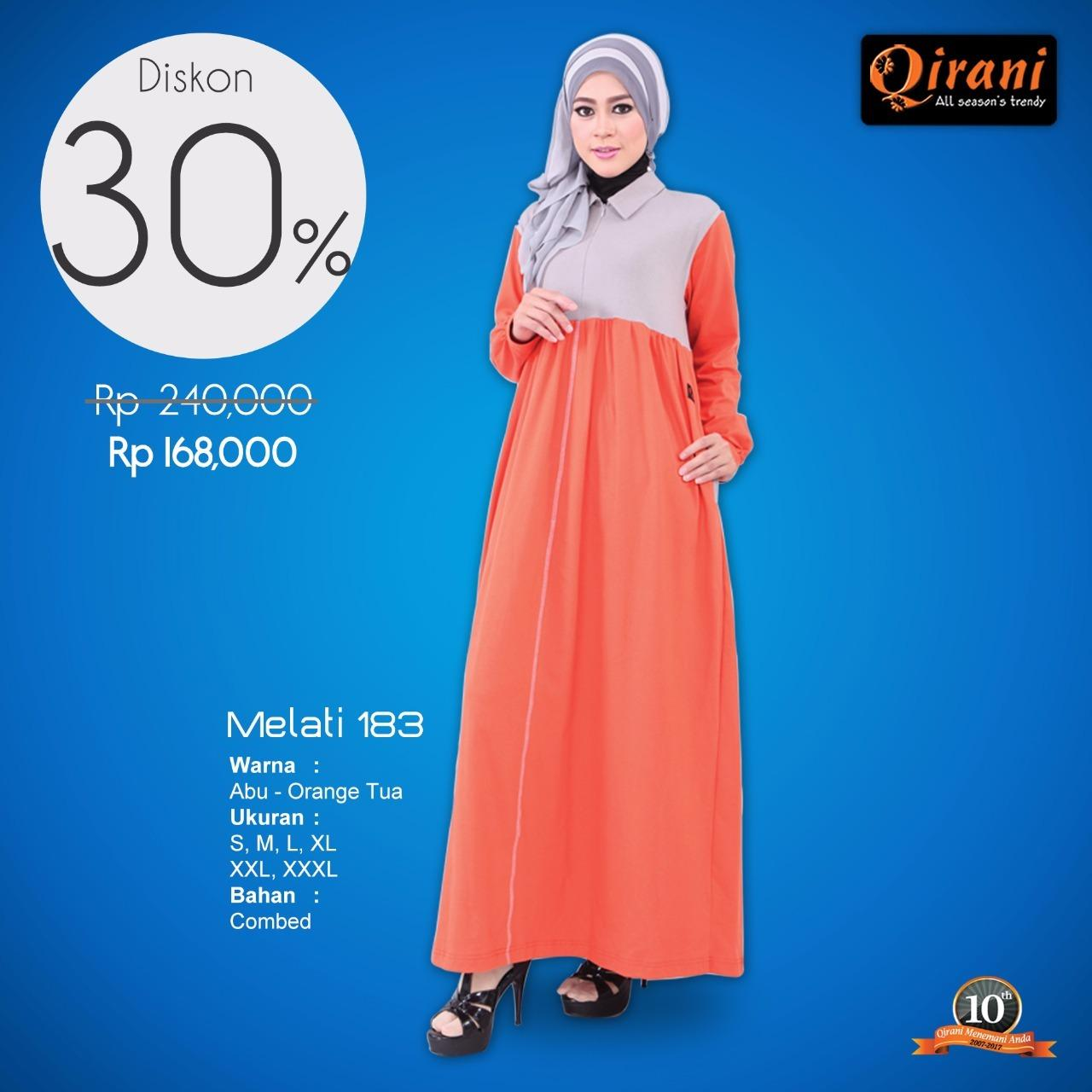 Gamis / Dress Wanita Qirani Promo Melati 183 Abu