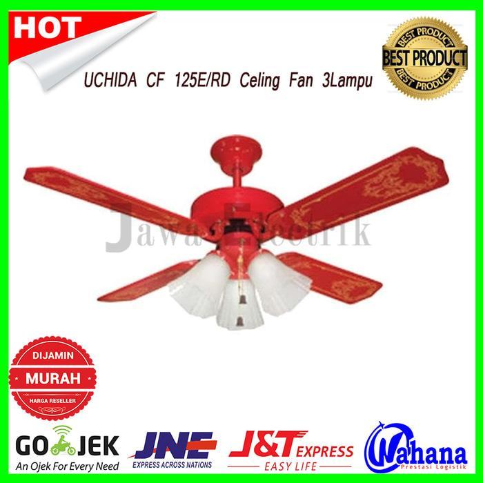 Celing Fan UCHIDA CF 125E/RD Kipas Angin Plafon 42inch 3 Lampu - MERAH