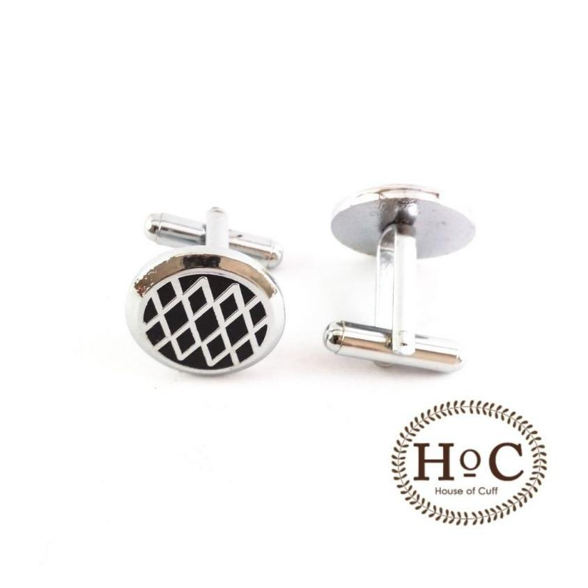 Houseofcuff Cufflinks Manset Kancing Kemeja French Cuff ROUND BLACK DIAGRAM CUFFLINKS