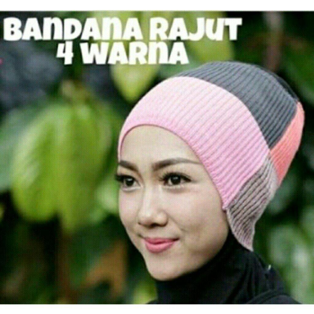 Inner Bandana Rajut Ciput Dalaman Jilbab Anti Pusing Ter Brukat Cantik Kekinian 1 Pcs 4 Warna