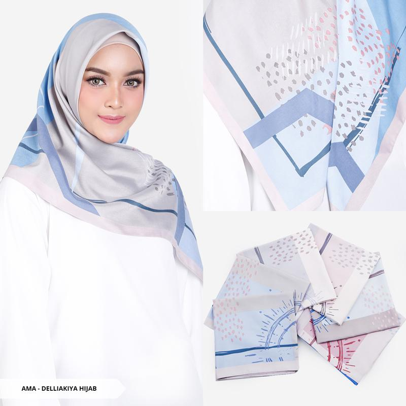 Delliakiya Abstract Square Hijab - Baby Blue