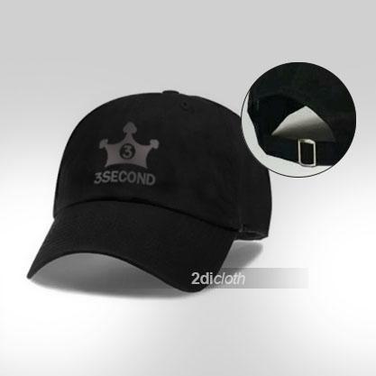 Topi Baseball 3second Black Logo Silver
