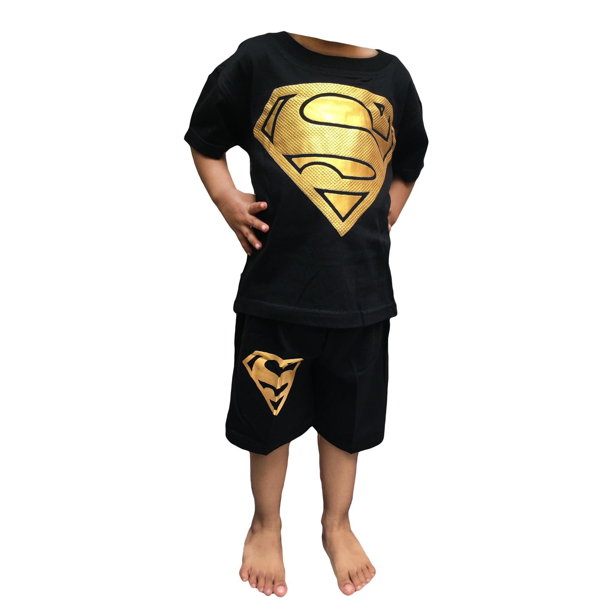 HM Setelan Anak Superman Foil Setelan Kaos Anak Karakter Superhero