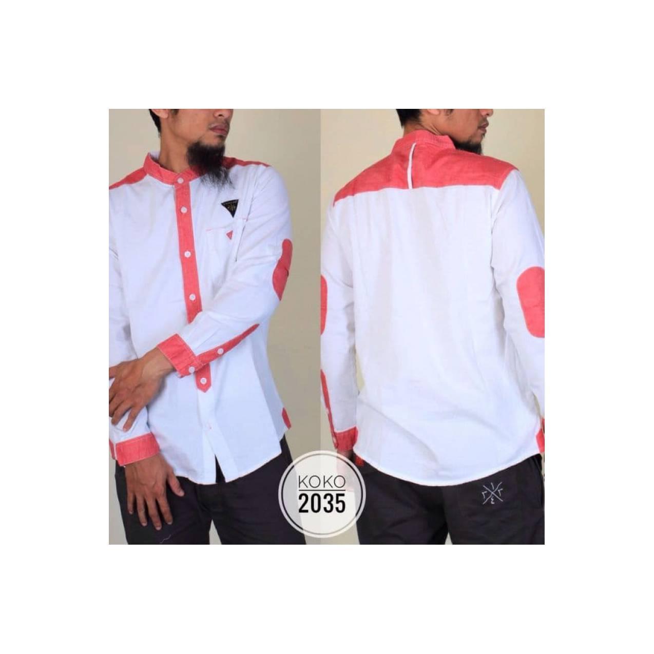 Baju Muslim Pria Model Baju Koko Samase Warna putih pink lengan panjan
