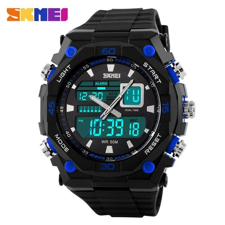 SKMEI Casio Men Sport LED Watch Water Resistant 50m AD1092 Jam Tangan Pria Sporty Jam Tangan SKMEI Original Jam Tangan Digital Analog Dual Time Jam Tangan Anti Air