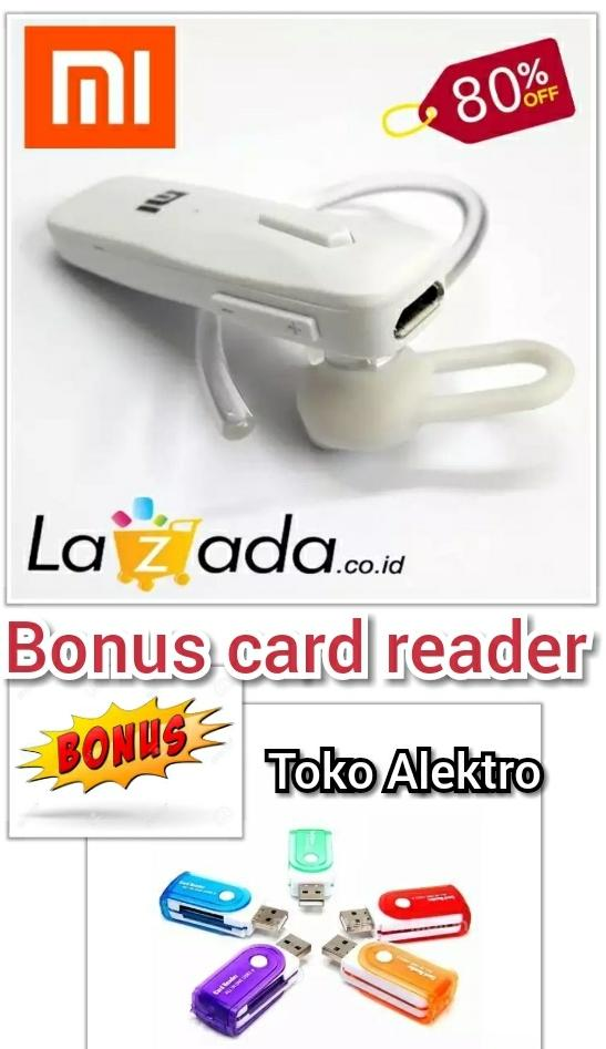 HEADSET BLUETOOTH MI BONUS CARD READER / mudah digunakan keren dan elegan / hetset / Hadset / bluetooth / handset / henset / handsfree / lg / murah / wireless / kompatibel dengan handfone / xiaomi / mi / samsung / lenovo / asus / android