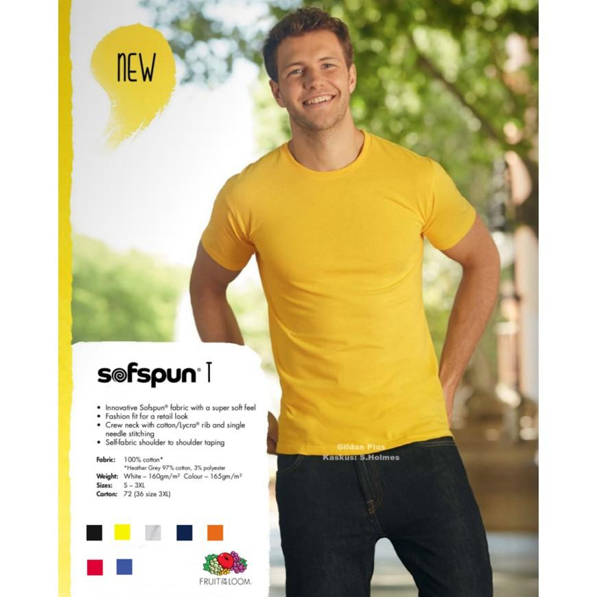 Fruit Of The Loom Soft Premium Tee FOTL Kaos Polos By: Gildan Plus - J5pomg