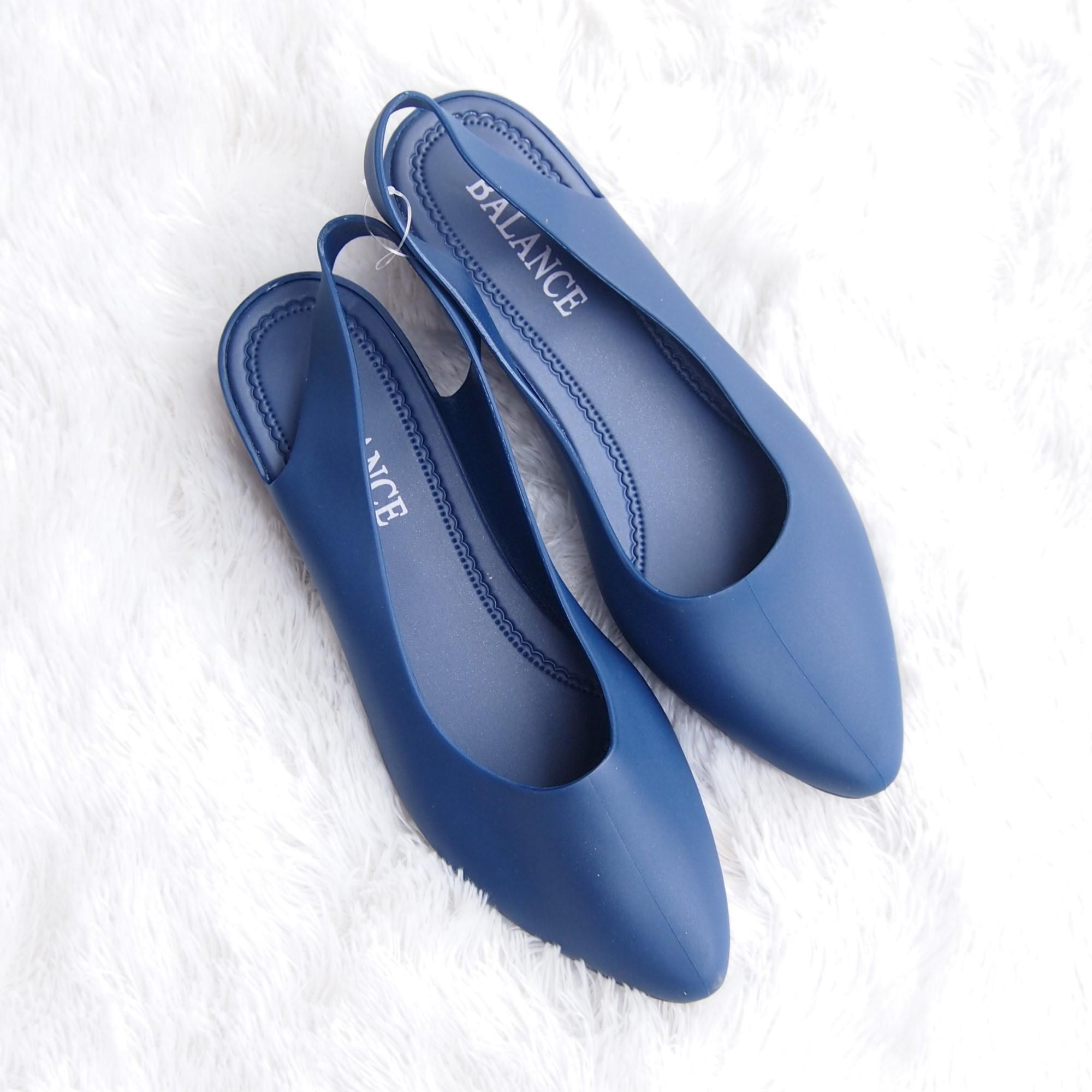 Sepatu Flat Shoes Wanita Trendi Lady Jelly Sendal Wedges Tali Belakang Cj L605 Warna Dikirim Random