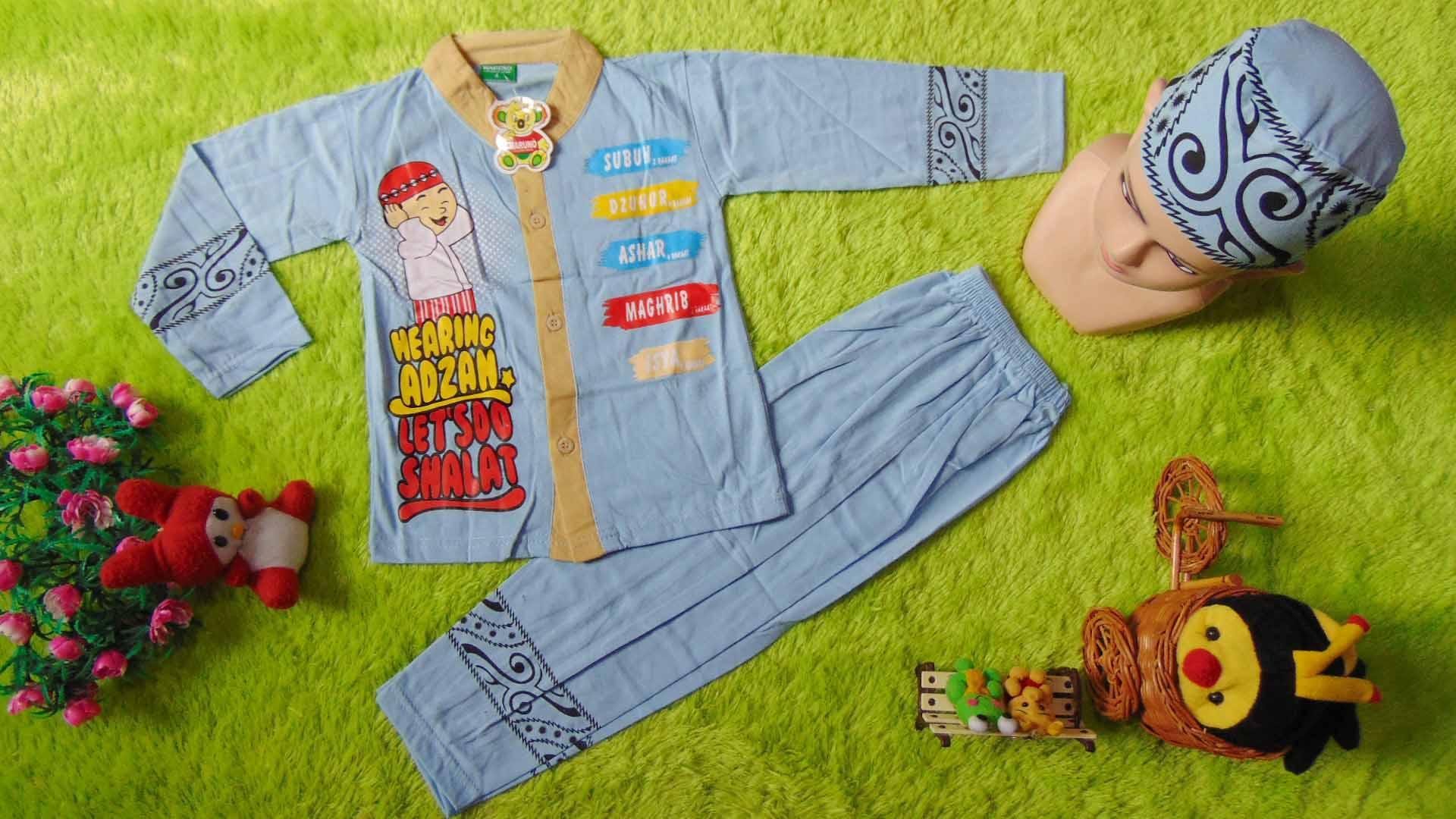 kembarshop - PALING LARIS setelan baju koko maruno muslim lebaran ramadhan idul fitri anak laki-laki cowok 2 tahun PLUS PECI  warna dan motif random