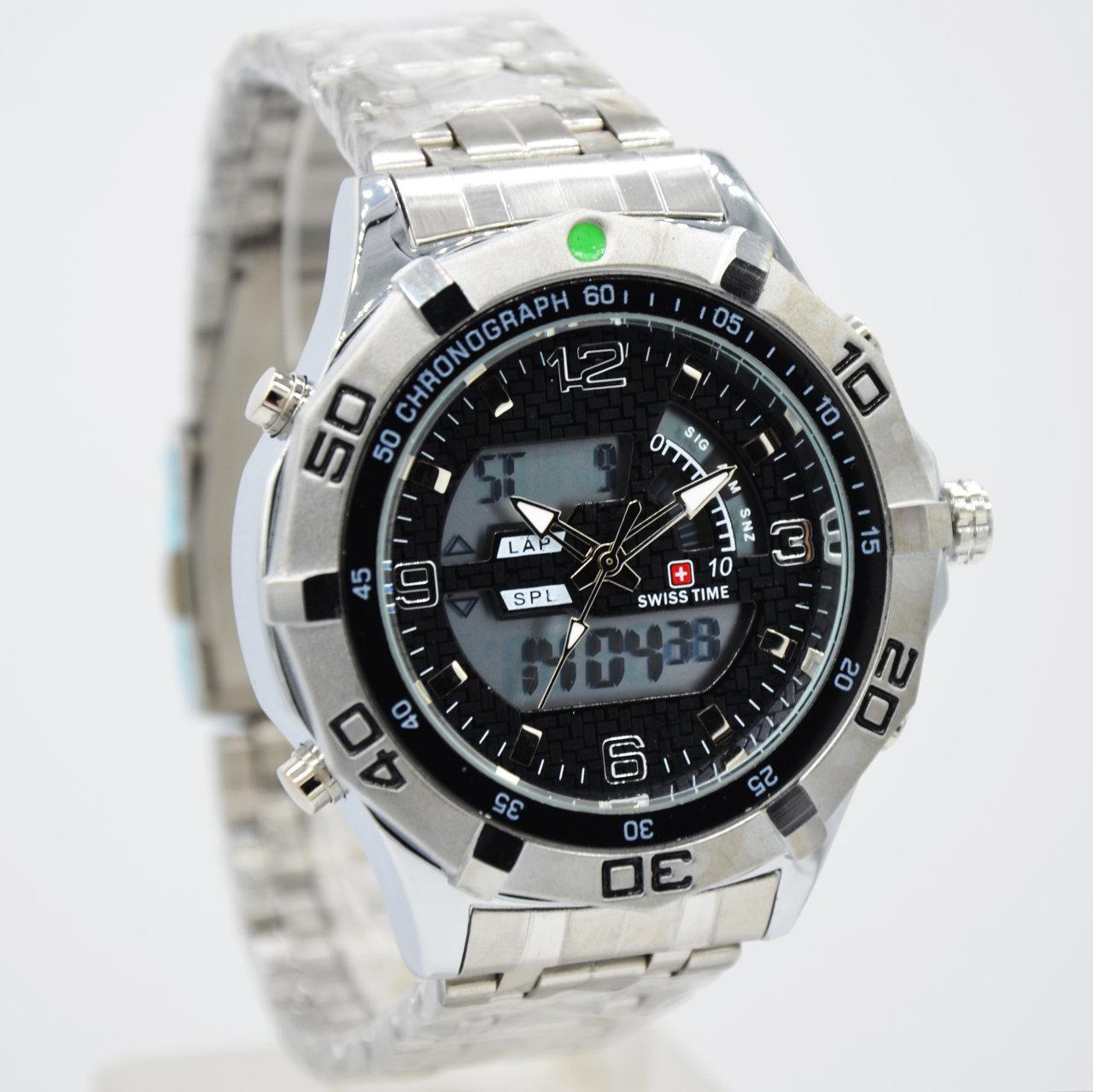Swiss Army/Time dual time - Jam Tangan Pria - SA 88A Silver