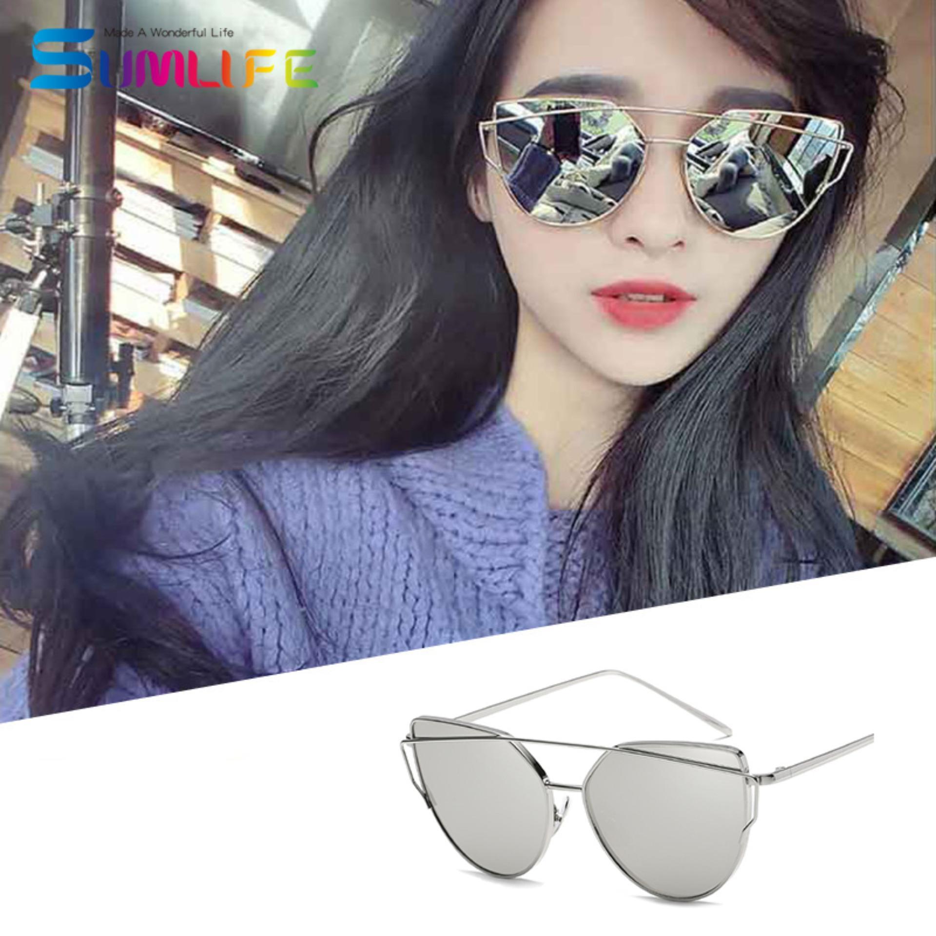Fashion Baru Logam Warna Film Kacamata Pria dan Women Retro Style Sunglasses-Silver Frame Merkuri Putih-Intl