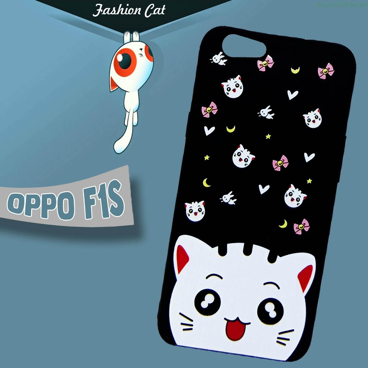 Softcase Fashion Cat Black Phone Case New For Oppo F1s