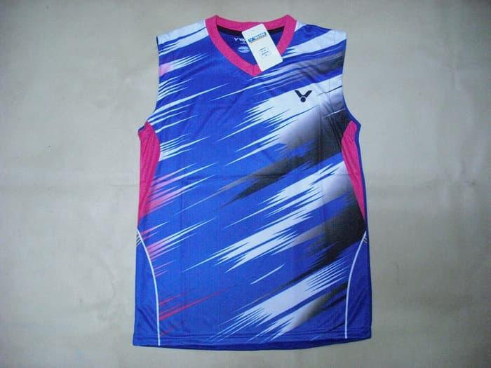 PROMO!!! BAJU Badminton / Bulutangkis Singlet Victor V.19 Blue - KMBPjP