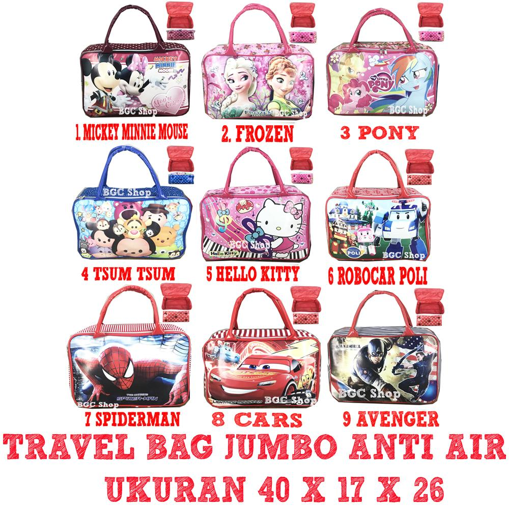 Special Hanya DI Lazada BGC Tas Travel Bag Anti Air Bahan Tebal Frozen Pony Mickey Minnie Avenger Spiderman Captain Cars Tsum Robocar Hello Kitty JUMBO - Full Motif ( VARIASI )