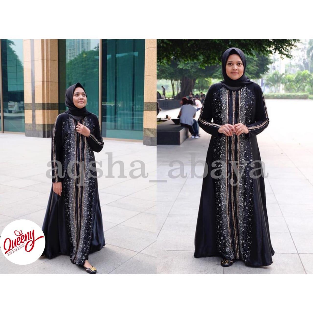 gamis abaya muslimah / abaya arab islami / abaya satin marbella fashion muslim kombinasi payet mewah
