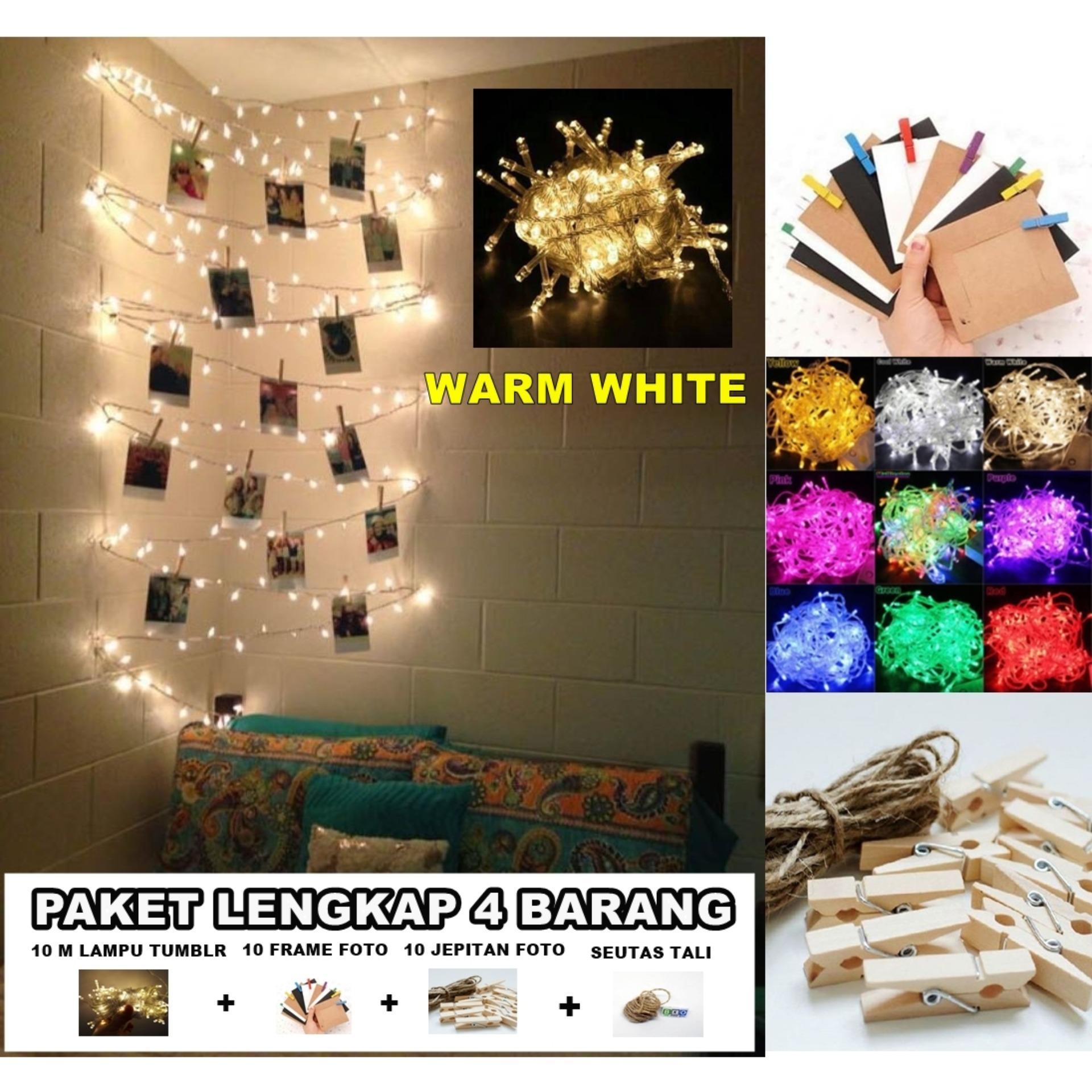 Set Frame Foto gantung Isi 10 Frame Paper, 10 Jepit Kayu, Tali Rami - LAMPU HIAS - Hiasan Rumah, Cafe, Kantor, Kamar, Kostan Tumblr Bingkai foto Dekorasi - dekorasi kamar