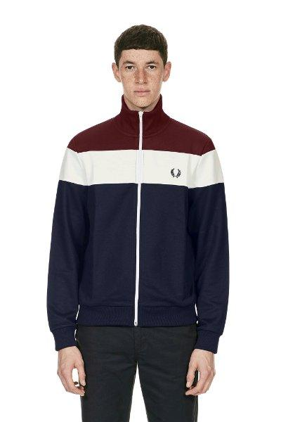 JAKET SWEATER HOODIE TRACKTOP FRED PERRY AUTHENTIC BLOCK COLOUR