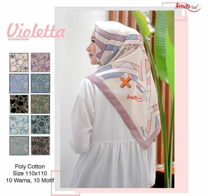 Jilbab Segiempat Motif Azzura Violetta Scraft