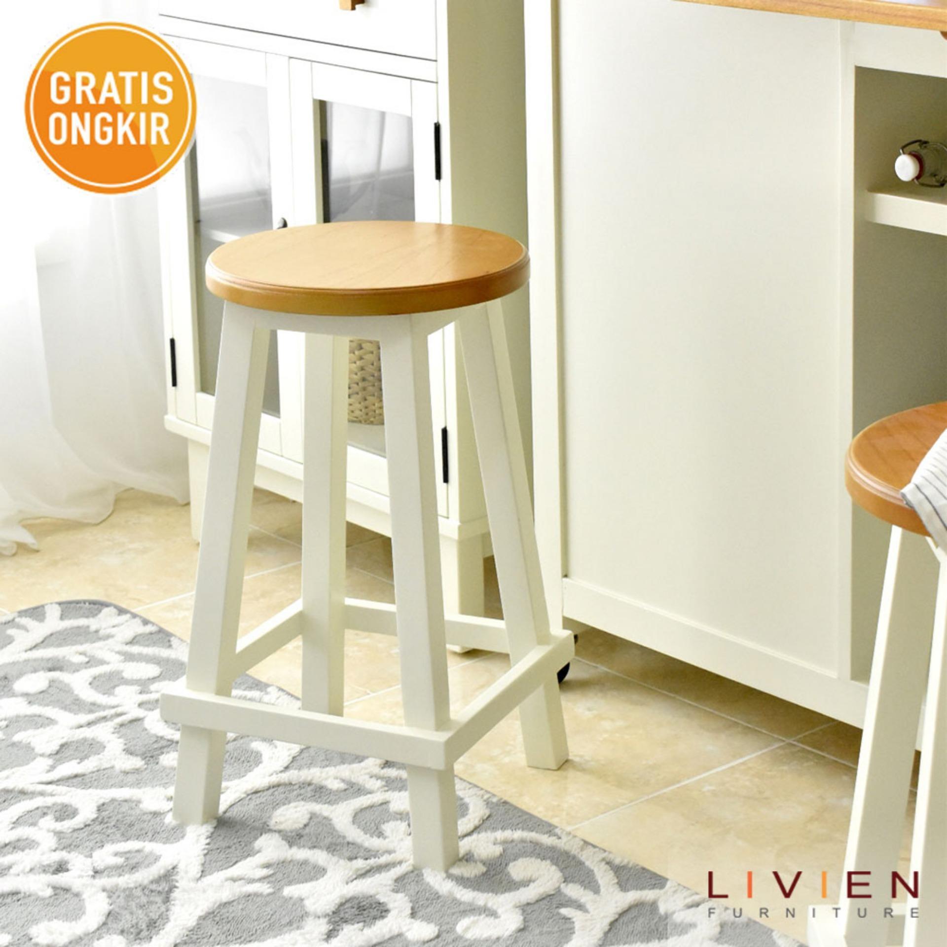 Livien Furniture Brand Rak Buku Mayple Story 5 Tingkat Round Stool Maple Series S Kursi Bulat 2 Pcs