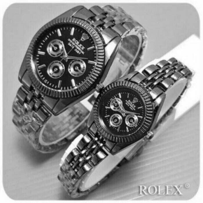 Promo   LARIS BANGET jam tangan couple rolex chrono jtr 222 full black Best Seller