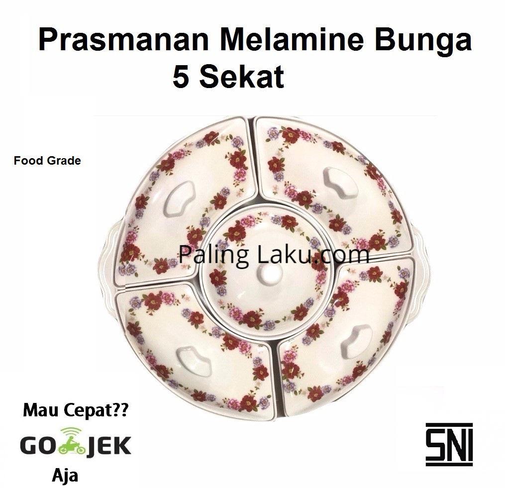 Piring Prasmanan Melamine Bunga 5 Sekat- Food Grade Sni By Paling Laku.