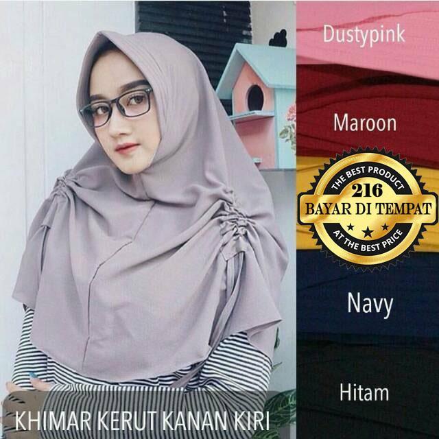 Hijab Kerut Samping Kanan-kiri Jilbab Instan Kerudung Khimar Instan Hitam Abu Marun Navy Dusty Pink