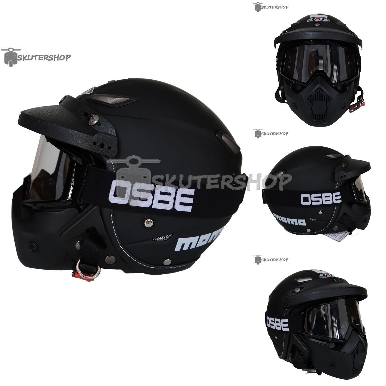 JPN Helm Momo Vintage With OSBE Goggle Mask Plus Pet Jeruk Hitam Retro Klasik Jap Style Motocross Shark Raw Visor Clear Doff - Hitam