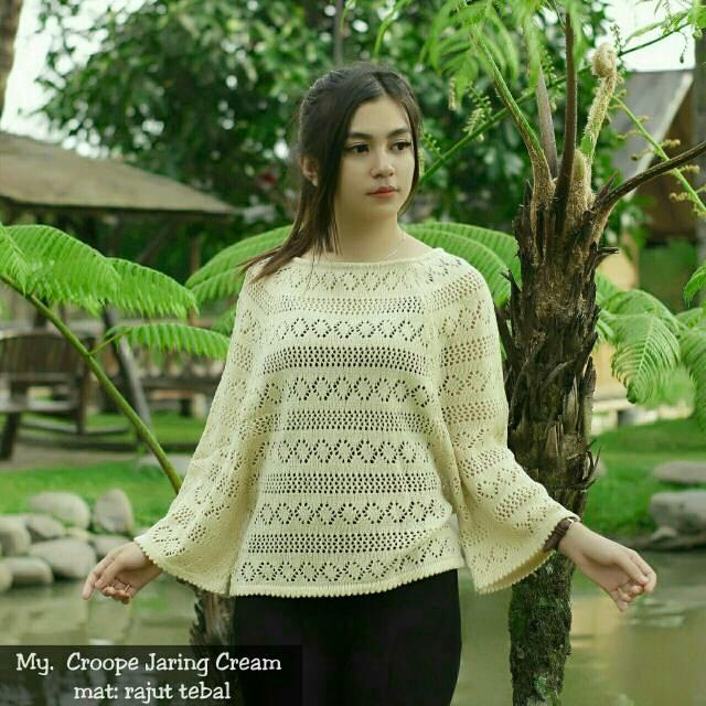 Original Sweater Source · Rajut crop jaring Atasan wanita .