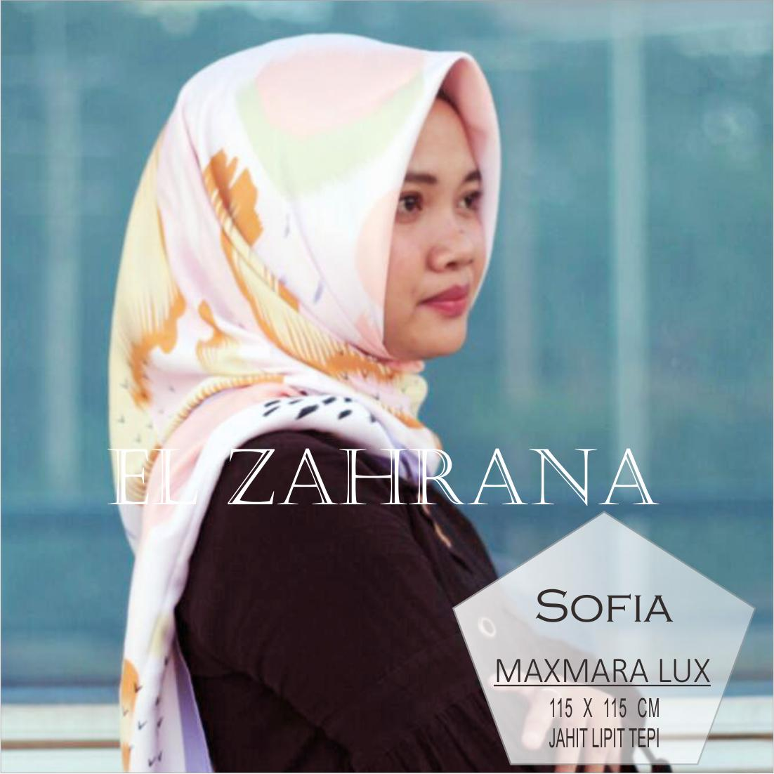 El Zahrana Hijab Sale Stock Square - Kerudung Segi Empat - Jilbab Motif Premium Baby silk