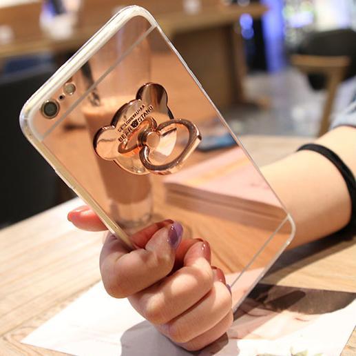 Samsung Casing HP Note5 Beruang Kecil Cincin Sarung Gel Silika Note3 Cermin Warna Solid