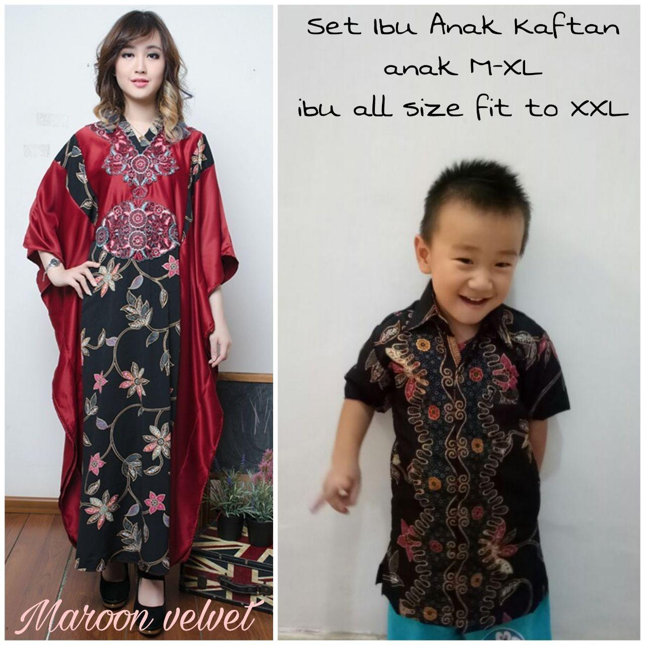 SB Collection Couple Dress Maxi Husnia Gamis Kaftan Jumbo Dan Kemeja Batik Anak