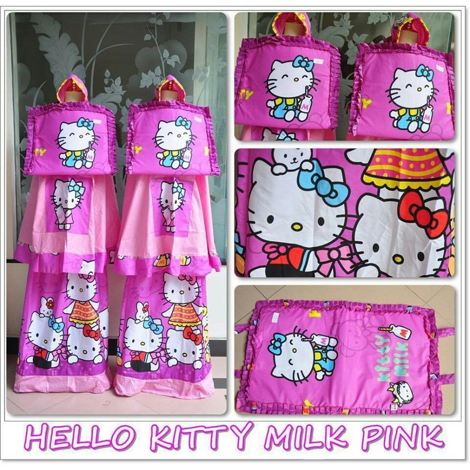 Madeena Mukena Anak Karakter Hello Kitty Milk Pink .