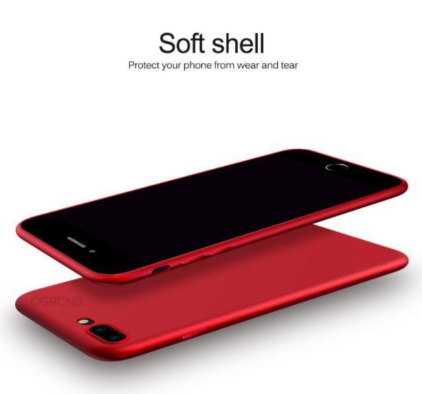TERLARIS !! Case iPhone 7/7 Plus +/6/6s Slim Silicone Casing Black red soft shell